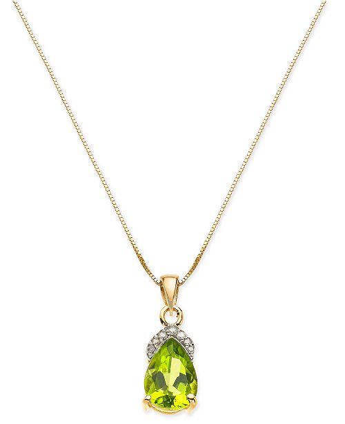 "Macy's Peridot (2 ct. t.w.) & Diamond Accent 18"" Pendant Necklace in 14k Gold"