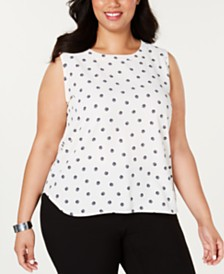Anne Klein Plus Size Sleeveless Printed Top