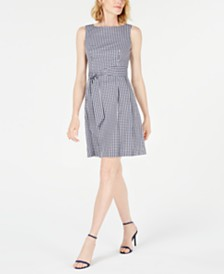 Anne Klein Checked A-Line Dress
