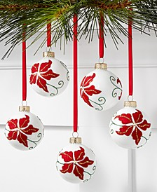Christmas Cheer Red & White Poinsettia Pattern Glass Ornaments, Set of 5, Created for Macy's