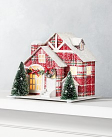 Christmas Cheer Light up Plaid Paper House, Created for Macy's
