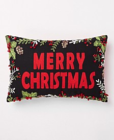 "Christmas Cheer Red & Black ""Merry Christmas"" Pillow, Created for Macy's"
