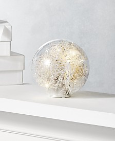 Holiday Lane Shine Bright Glass Dome with Christmas Tinsel, Created for Macy's