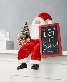 "Sitting Santa with ""HO-HO-HO"" Chalkboard, Created for Macy's"