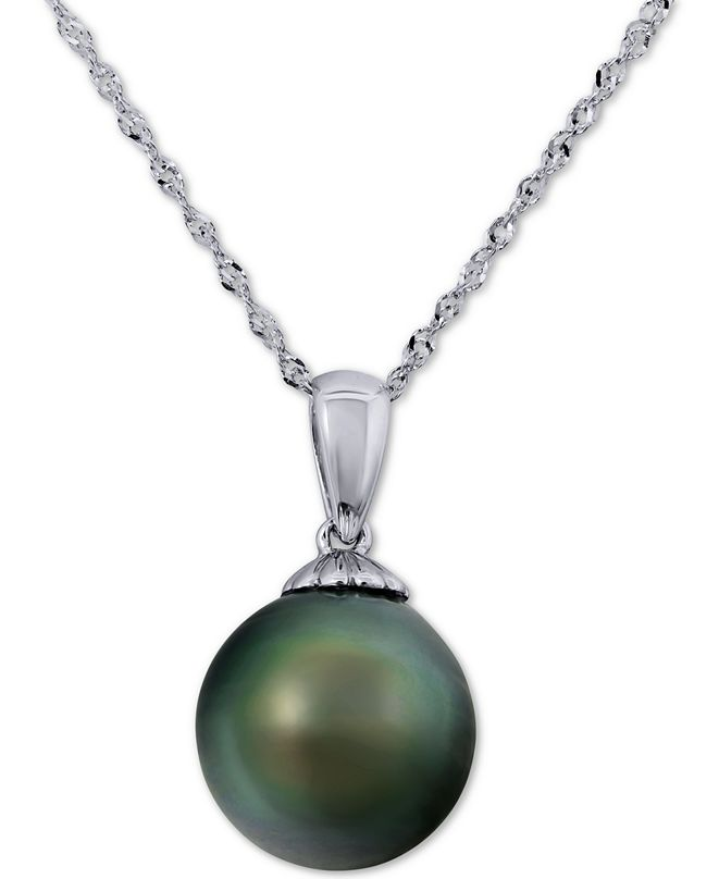 """Macy's Cultured Tahitian Pearl (10mm) Solitaire 18"""" Pendant Necklace in 14k White Gold"""