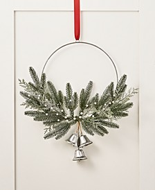 Silver Woods Asymmetrical Artificial Mistletoe Wreath with Silver Bells, Created for Macy's