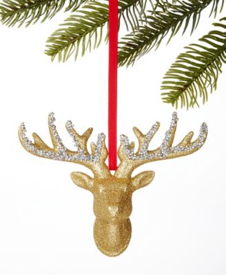 Midnight Blue Gold Stag Head Ornament, Created for Macy's
