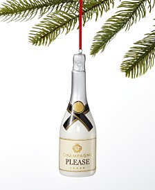 Holiday Lane Spirits Silver Champagne Bottle Ornament, Created For Macy's