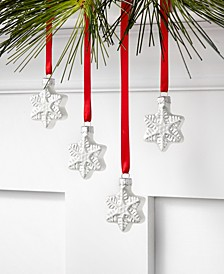 The Holiday Collection Set of 4 Glass Mini Snowflake Ornaments, Created for Macy's
