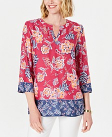 Petite Double-Floral Printed Tunic, Created for Macy's