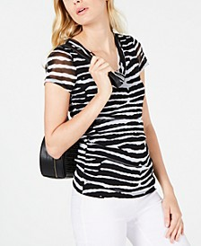 INC Mesh Animal-Print T-Shirt, Created for Macy's
