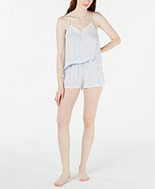 Striped Lace Cami & Shorts Pajama Set