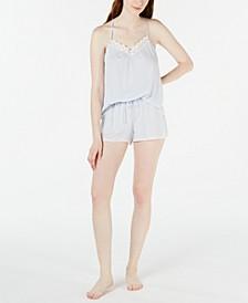 Striped Lace Cami & Shorts Pajama Set
