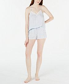 Linea Donatella Striped Lace Cami & Shorts Pajama Set