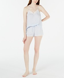 Linea Donatella Striped Lace Cami & Shorts Pajama Set