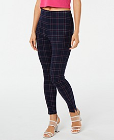 Windowpane Knit High-Waist Cropped Skimmer Leggings