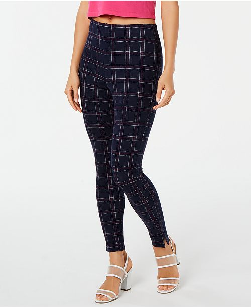 Hue Windowpane Knit High-Waist Cropped Skimmer Leggings