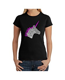 Women's Word Art T-Shirt - Unicorn