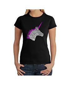 Women's Word Art T-Shirt - Unicorn