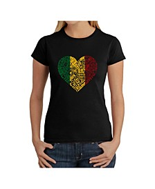 Women's Word Art T-Shirt - One Love Heart