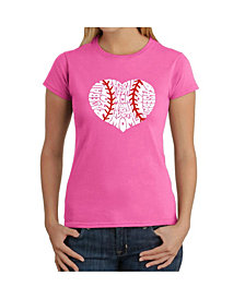 Women's Word Art T-Shirt - Baseball Mom