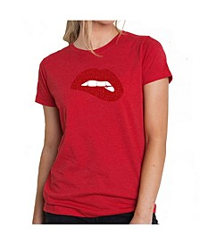 Women's Premium Word Art T-Shirt - Savage Lips