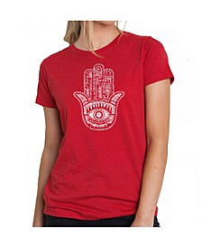 Women's Premium Word Art T-Shirt - Hamsa