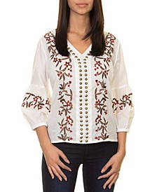 Embroidery Blouse with Antique Metal Stud Detail