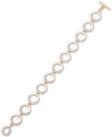 DKNY Gold-Tone Crystal Round Link Toggle Bracelet