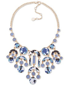 """DKNY Gold-Tone Stone & Crystal Statement Necklace, 16"""" + 3"""" extender"""