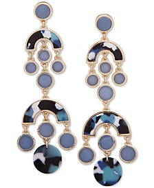 DKNY Gold-Tone Stone and Crystal Chandelier Drop Earrings