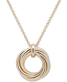 "Lauren Ralph Lauren Gold-Tone Love Knot 36"" Pendant Necklace"