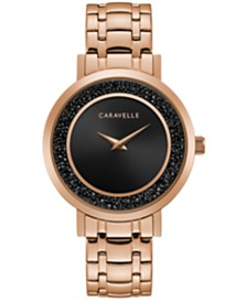 Caravelle Designed by Bulova Women's Rose Gold-Tone Stainless Steel Bracelet Watch 36mm