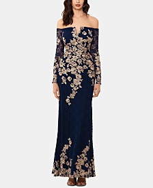 XSCAPE Lace-Embroidered Gown