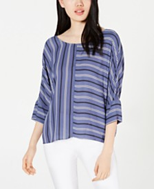 BCX Juniors' Striped Tie-Back Top