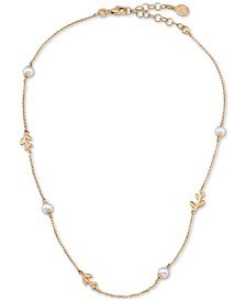 """Gold-Plated Sterling Silver Imitation Pearl & Vine Collar Necklace, 15"""" + 2"""" extender"""