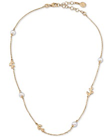 "Majorica Gold-Plated Sterling Silver Imitation Pearl & Vine Collar Necklace, 15"" + 2"" extender"