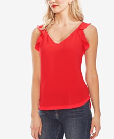 Vince Camuto Ruffled-Strap V-Neck Top