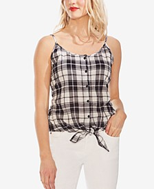 Tie-Hem Plaid Top