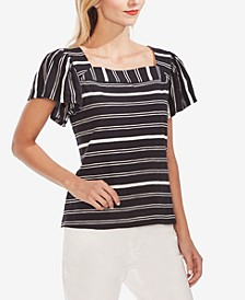 Striped Cotton Square-Neck Top