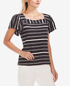 Vince Camuto Striped Cotton Square-Neck Top