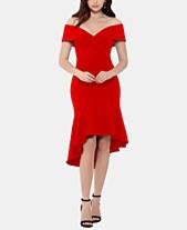 7fcc20c4 XSCAPE Off-The-Shoulder Crepe Ruffle Dress