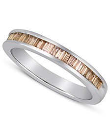 Sterling Silver Ring, Champagne Diamond Baguette Ring (1/2 ct. t.w.)