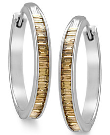 Sterling Silver Earrings, Champagne Diamond Baguette Hoop Earrings (1 ct. t.w.)