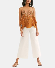 Free People Colette Wideleg Cropped Capri Jeans