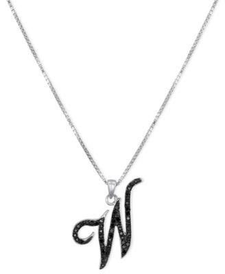 """Sterling Silver Necklace, Black Diamond """"W"""" Initial Pendant (1/4 ct. t.w.)"""