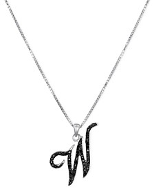 "Sterling Silver Necklace, Black Diamond ""W"" Initial Pendant (1/4 ct. t.w.)"