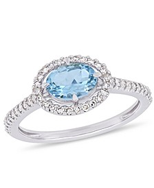 Aquamarine (5/8 ct.t.w.) and Diamond (1/4 ct.t.w.) Halo Ring in 10k White Gold
