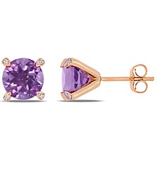 Amethyst (3 ct.t.w.) with Diamond Accent Stud Earrings in 10k Rose Gold