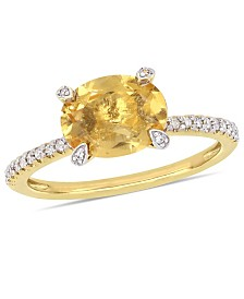 Citrine (1-5/8 ct.t.w.) and Diamond (1/10 ct.t.w.) Ring in 10k Yellow Gold